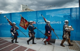 Mcc0084543 © Eddie Mulholland Conservative Party Conference, Birmingham. PIC: King Richards men - at the Conservative Party Conference 2018 to put the heritage and tourism case for Bosworth